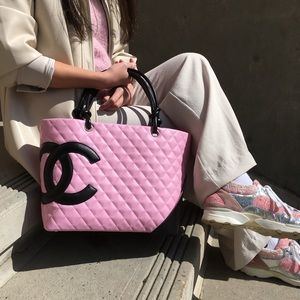 Chanel Pink Cambon Shopper Tote